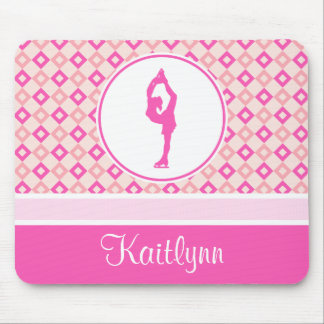 Pink Checkered Diamonds Figure Skater w/ Monogram Mouse Pad