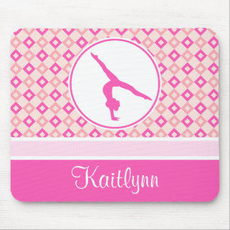 Pink Checkered Diamonds Gymnastics w/ Monogram Mouse Pad