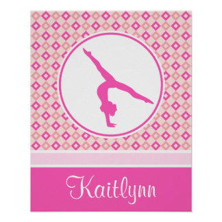 Pink Checkered Diamonds Gymnastics w/ Monogram Poster