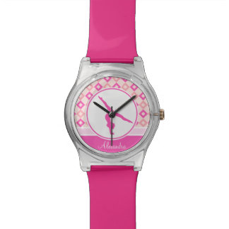 Pink Checkered Diamonds Gymnastics w/ Monogram Watch