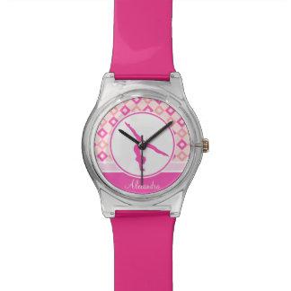 Pink Checkered Diamonds Gymnastics w/ Monogram Wrist Watch