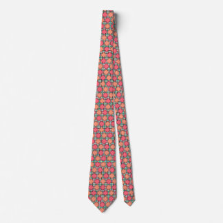 Pink checkered patterned tie