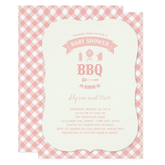 Pink Checks BBQ Girl Baby Shower Party Invite