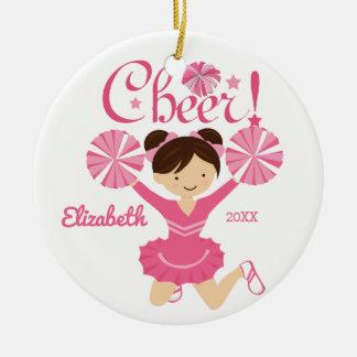Pink Cheer Dark Hair Cheerleader Ornament
