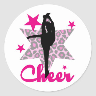 Pink cheerleader classic round sticker
