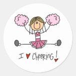 Pink Cheerleader Round Sticker