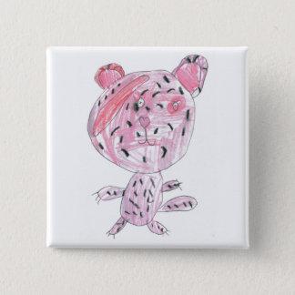 Pink cheetah 15 cm square badge