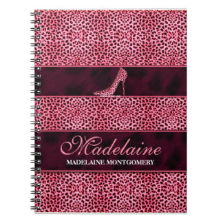 Pink Cheetah for the Writer Spiral Note Book