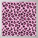 Pink Cheetah Leopard Print Black Spots Pattern