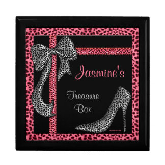Pink Cheetah Personalized Treasure Chest Large Square Gift Box