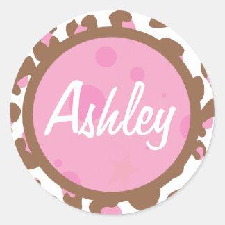 Pink Cheetah Print Classic Round Sticker