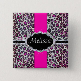 Pink Cheetah Print Diamond Monogram 15 Cm Square Badge