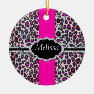 Pink Cheetah Print Diamond Monogram Christmas Ornament