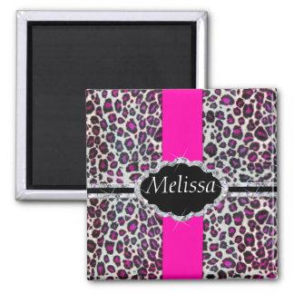 Pink Cheetah Print Diamond Monogram Magnet