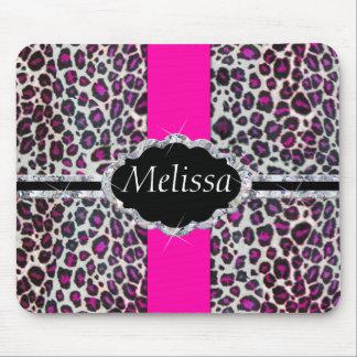 Pink Cheetah Print Diamond Monogram Mouse Mat