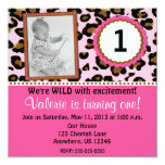 Pink Cheetah Print Girls Birthday Invitation