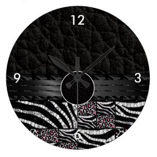 Pink Cheetah Zebra Bling Monogram Clocks