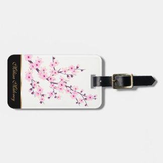 Pink Cherry Blosoms Floral White Luggage Tag