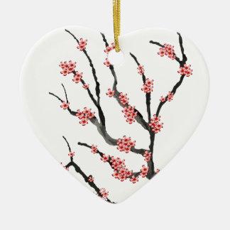 Pink Cherry Blossom 25, Tony Fernandes Ceramic Heart Decoration