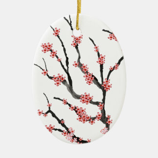 Pink Cherry Blossom 25, Tony Fernandes Ceramic Oval Decoration