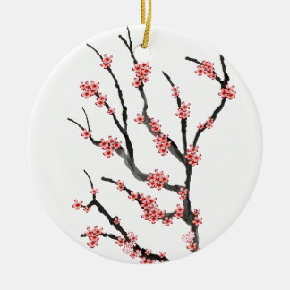 Pink Cherry Blossom 25, Tony Fernandes Round Ceramic Decoration