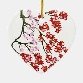 Pink Cherry Blossom 26, Tony Fernandes Ceramic Heart Decoration