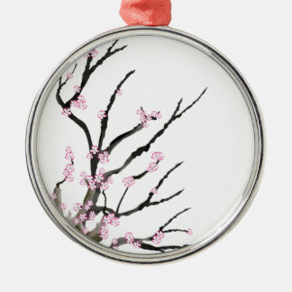 Pink Cherry Blossom 27, Tony Fernandes Silver-Colored Round Decoration