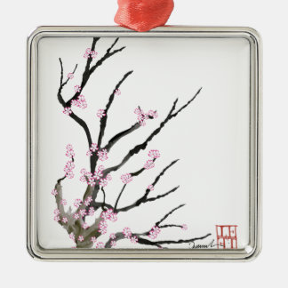 Pink Cherry Blossom 27, Tony Fernandes Silver-Colored Square Decoration