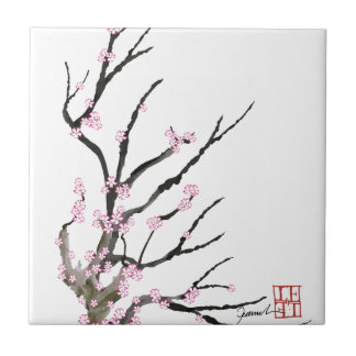 Pink Cherry Blossom 27, Tony Fernandes Small Square Tile