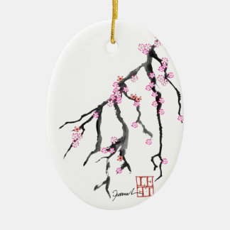 Pink Cherry Blossom 28, Tony Fernandes Ceramic Oval Decoration