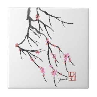 Pink Cherry Blossom 29, Tony Fernandes Small Square Tile