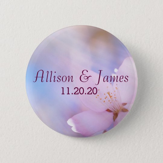 Pink cherry blossom 6 cm round badge