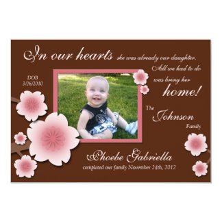 "Pink Cherry Blossom & Brown Adoption Announcements 5"" X 7"" Invitation Card"