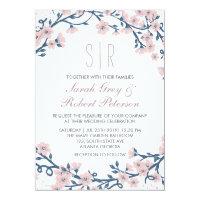 Pink Cherry Blossom Flower Wedding Invitation