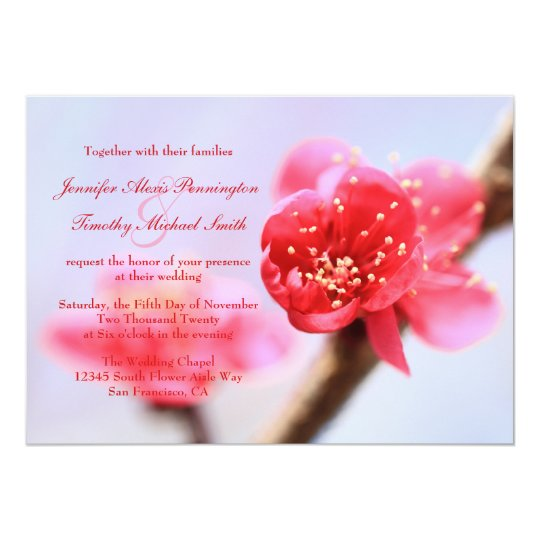 Pink cherry blossom flowers wedding invitation