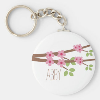Pink Cherry Blossom Keychain - Personalize