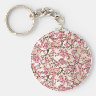 Pink Cherry Blossom Keyring Basic Round Button Key Ring