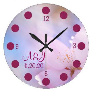 Pink cherry blossom large clock