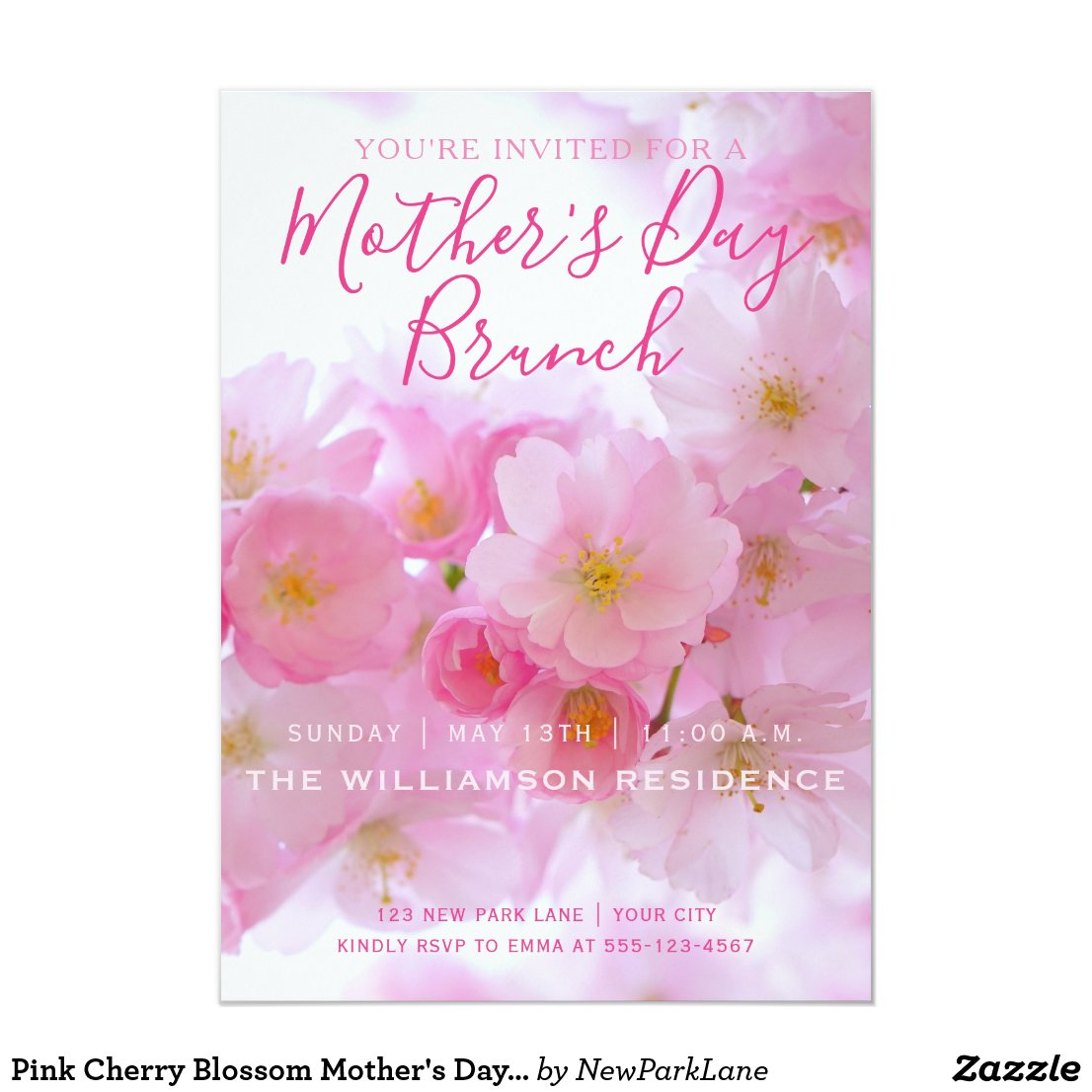 Pink Cherry Blossom Mother's Day Brunch Invitation
