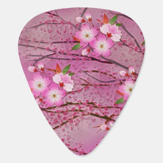 Pink Cherry Blossom Origami Art Plectrum