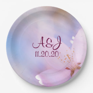 Pink cherry blossom paper plate