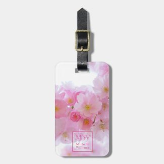 Pink Cherry Blossom Photo Personalised Luggage Tag