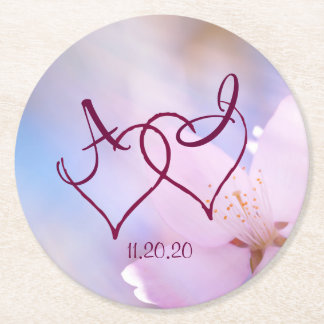 Pink cherry blossom round paper coaster