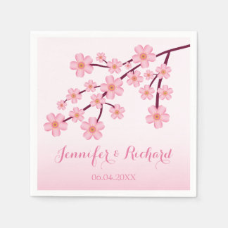 Pink Cherry Blossom Sakura With Names Wedding Disposable Napkin