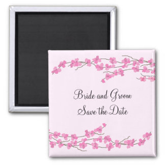Pink Cherry Blossom Save the Date Magnet