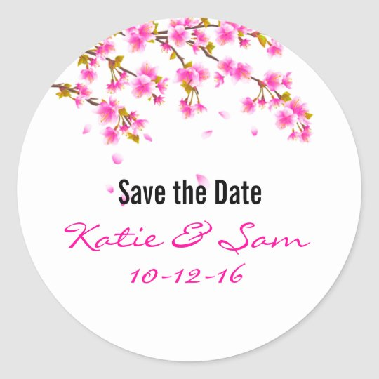 Pink Cherry Blossom Save the Date Round Stickers