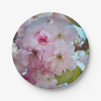 Pink Cherry Blossom Spring Easter Dessert Plate 7 Inch Paper Plate
