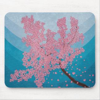 Pink cherry blossom spring illustration mouse mat