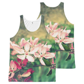 Pink cherry blossom, Spring, print all over All-Over Print Tank Top