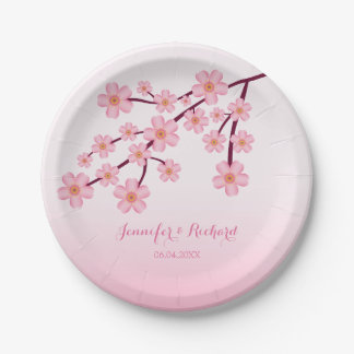 Pink Cherry Blossom Tree Branch With Names Wedding Paper Plate